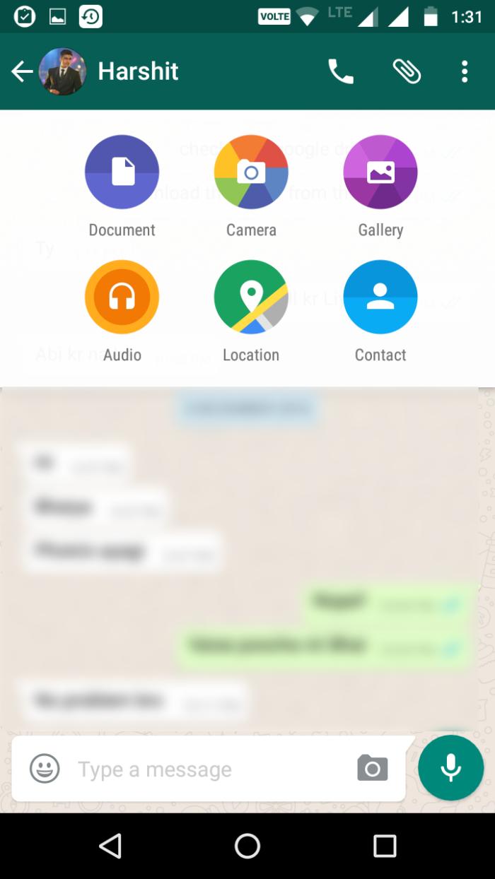 send documents, gif , location on whatsapp