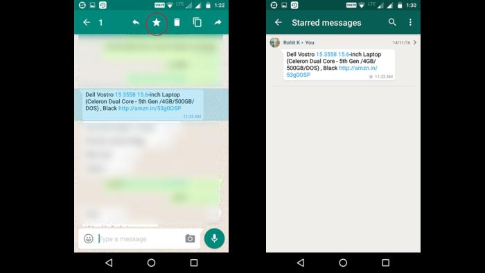 whatsapp starred message