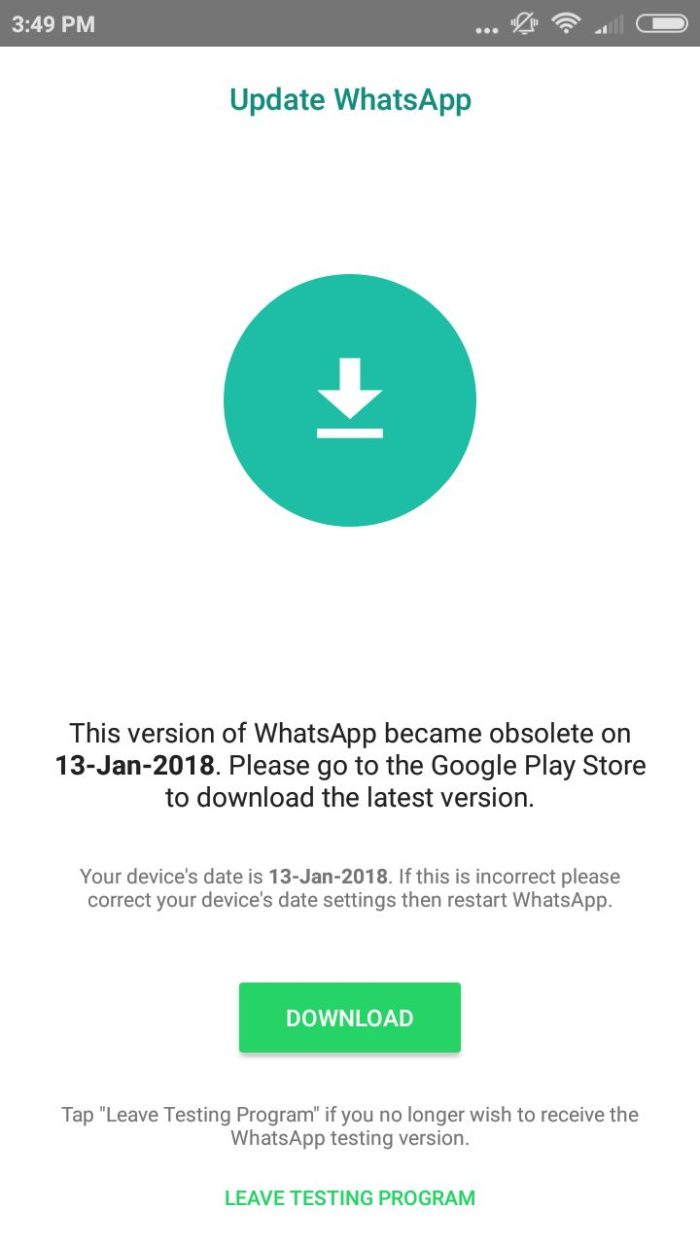 fix whatsapp obsolete issue without loosing data