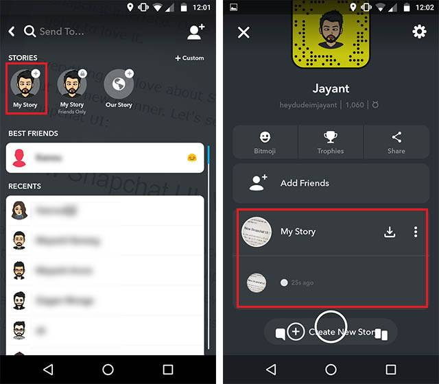 snapchat new UI story