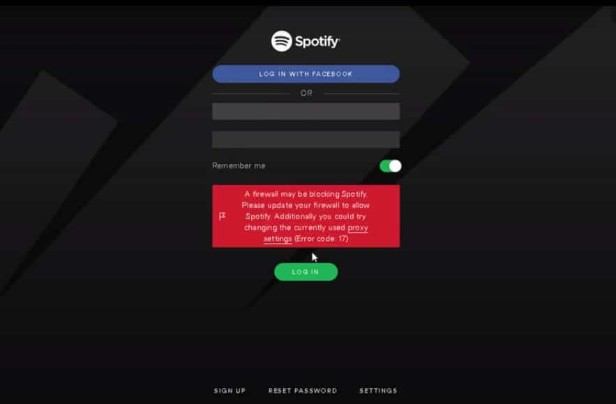 spotify error code 17 fix